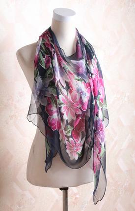 printed  floral silk scarf