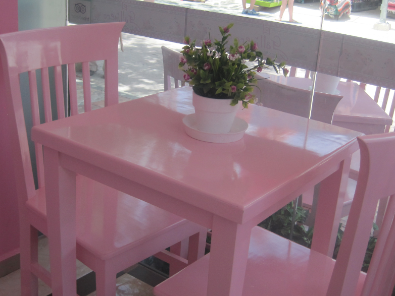 pink table pink chair